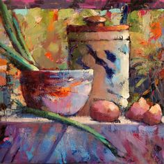 Kitchen Vignette by Trisha Adams (USA) Painting Still Life, Still Life Art, Paintings I Love, Art Watercolor, Impressionist Landscape, Arte Floral, Art Graphique, Artist Art, Art Oil