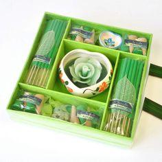 Duftstäbchen Räucher Kerzen Spa-Set Zitronengras