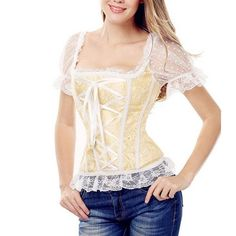 Black steampunk gothic lace corset top