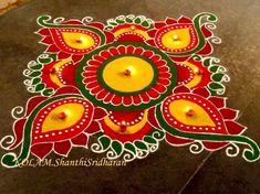 Rangoli Photos, Simple Rangoli Designs Images, Rangoli Designs Flower, Rangoli Border Designs, Rangoli Patterns, Colorful Rangoli Designs, Rangoli Ideas, Rangoli Designs Diwali, Diwali Rangoli