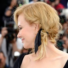 mussed-up double braid with chic French ribbon | Nicole Kidman, Cannes, 2013