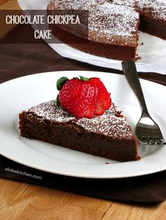 Chocolate Chickpea Cake is a fudgy, chocolaty, high protein cake that is easy to make. Real Food Recipes, Cake Recipes, Dessert Recipes, Icing Recipes, Gf Recipes, Flourless Chocolate, Chocolate Flavors, Chocolate Chips, Chocolate Cake