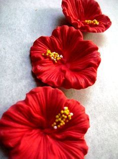 Tropical hibiscus gum paste flowers by kupcakespot on Etsy