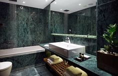 Standard room with luxurious marble bathroom with large bathtub at Samaria hotel Chania Bathroom Cladding, Hardwood Floors, Flooring, Contemporary Style, Natural Stones, Marble, Bathtub, House Design, Luxury