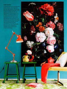 via 101woonideeen.nl Kleurgebruik top, dessins gecombineerd en het meest multi functionele artikel in huis: het krukje,trapje,bijzettafeltje, allesineen.