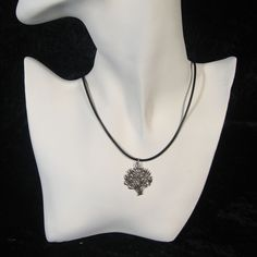 Silver Tree of Life Pendant w/Black Cord Necklace #Unbranded #Pendant