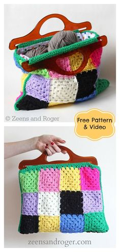 Granny Square Bag Free Crochet Pattern This Granny Square Crochet Bag is the perfect size for running quick errands around town. The Granny Square Bag Free Crochet Pattern is made entirely of granny squares that are joined together at the end. Crochet Tote, Crochet Purses, Crochet Granny, Free Crochet, Granny Pattern, Bag Pattern Free, Sac Granny Square, Granny Squares, Quilt Patterns