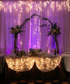 #wedding #backdrop --I think I'd like this and a more simple background. Or whatever one wouldn't take away from everyone at the head table.