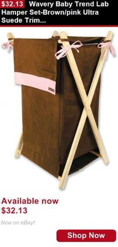 Baby Boxes And Storage: Wavery Baby Trend Lab Hamper Set-Brown/Pink Ultra Suede Trim Collapsible Hamper BUY IT NOW ONLY: $32.13