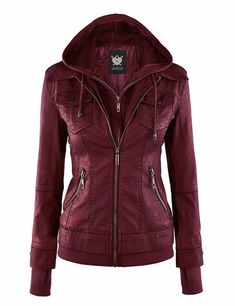 Lock and Love Women's Removable Hooded Faux Leather Moto Biker Jacket Coats For Women, Jackets For Women, Women's Jackets, Denim Fashion, Womens Fashion, Biker Fashion, Trendy Fashion, Faux Leather Jackets, Hooded Leather Jacket