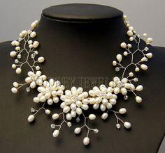 Collar de perlas, regalos de dama, collar de abalorios, collar babero, declaración collar, abalorios joyas con perlas de agua dulce