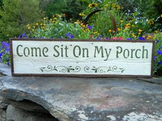Come Sit On My Porch sign - White - Simple, Rustic, Unique - Handmade Outdoor Signs - Country Home and Garden Decor via Etsy