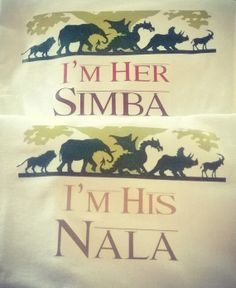 His and Hers Simba and Nala TShirt set of by CustomPersonaliTees, $28.95