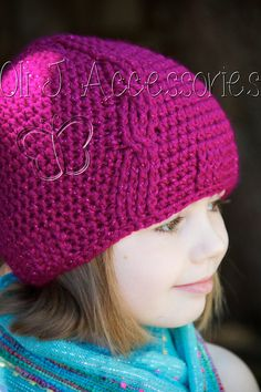 Girl's Cabled Beanie by OliJAccessories on Etsy, $22.00