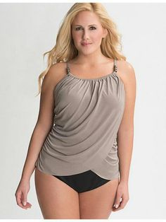 Designed to flatter all your fabulous curves, this slimming maillot by Miraclesuit features beaded straps and a stunning draped overlay. Supportive underwire cups make the most of your shape, keeping you perky in the pool or out. Lingerie Latex, Bustier Lingerie, Lingerie Glamour, Women's Plus Size Swimwear, Plus Size Bikini, Trendy Swimwear, Bathing Suits Body Types, Curvy Fashion, Plus Size Fashion