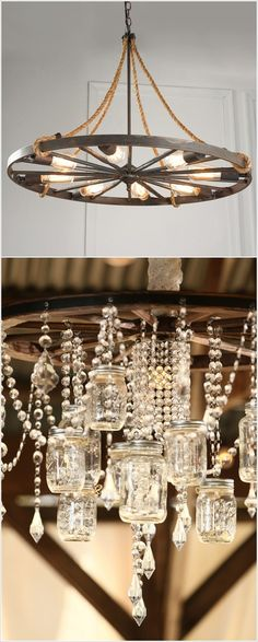For andrea diy mason jar chandelier for the home pinterest wagon wheel and crystals the unexpected combination just works creative ways to light up mason jars upcycled treasures aloadofball Images