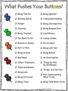 "Visually appealing poster to help identify common triggers to negative emotions. A helpful tool for early anger management.This is a preview of my ""Button Pusher"" product that includes activities and fun worksheets with 80 creative therapeutic questions to identify triggers, stages of anger, and helpful coping strategies coming very soon.This is a preview to my new Pushing My Anger Buttons product."
