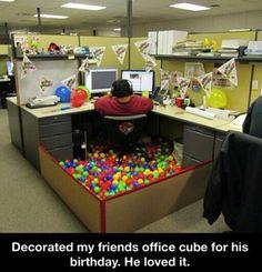 Ballpit-desk birthday or anniversary decorations!