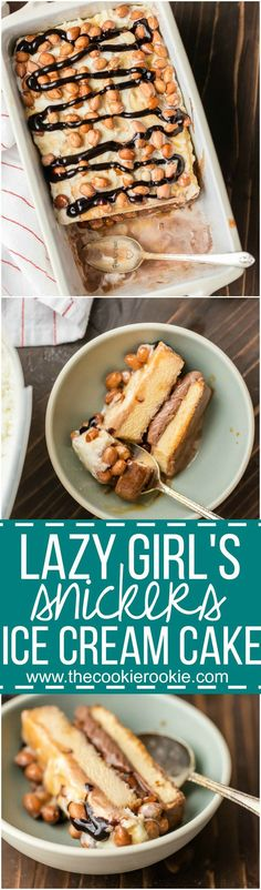 Be the hero of any party with this LAZY GIRL'S SNICKERS ICE CREAM CAKE! Made with pound cake, chocolate and vanilla ice cream, caramel, and peanuts. BEST EASY ICE CREAM CAKE EVER! Sponsored by Real Seal