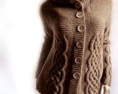 Hand, die Womens Cable Knit Sweater Strick Cardigan mit Kapuze Mantel Schokobraun vielen Farben erhältlich