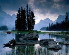 spirit island at maligne lake in jasper national park