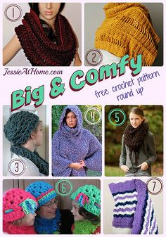 Big & Comfy - free crochet pattern round up from Jessie At Home