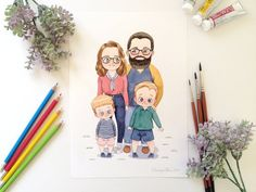 Modern Portraits, Family Portraits, Watercolor Portraits, Watercolor Paper, Cartoon Styles, Illustrations, Watercolor Illustration, Printing Services, Original Paintings