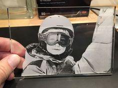 Laser engraved acrylic photo.
