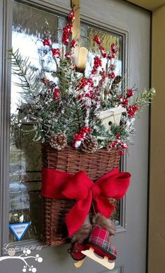 20 Alternatives to Wreaths for Fall and Winter - Basket with mini skates - Life on Kaydeross Creek