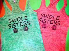 2 Swole Sisters Weightlifting Tanks. Ladies Swole by MOZtrendFit