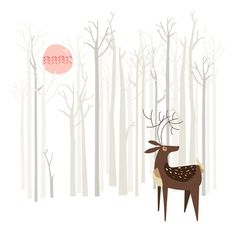 """Reindeer of the Silver Wood, by Poppy & Red.  Art Print / MINI (8"""" x 8"""")  $16.00"""