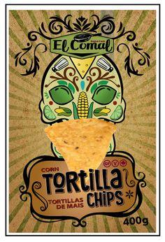 El Comal Corn Tortilla chips concept art for chip bag Tortilla Chip Brands, Tortilla Chips, Chip Packaging, Chips Brands, Corn Chips, Corn Tortillas, Concept Art, Branding, Bag