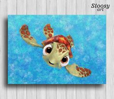 squirt turtle print finding nemo decor nautical by Stoosyart