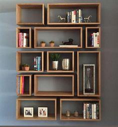 Modern Bookcase, Wall Bookshelves, Bookshelf Design, Wall Shelves Design, Creative Bookshelves, Homemade Bookshelves, Floating Bookshelves, Bookshelf Ideas, Home Room Design