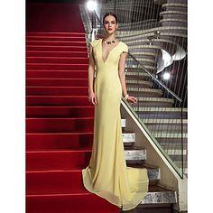 vestido de noche de gasa tren de barrido vaina / columna v-cuello / cepillo (759845) – MXN $ 1,592.84
