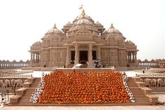 BAPS Swaminarayan Akshardham Temple, New Delhi. Built in only 5 years! The beautiful Hindu Mandir was built according to the Ancient Hindu doctrine of architecture-engineering, construction without steel or cement, which will make it stand for a millennium. It consists of 234 ornately carved pillars, 9 ornate domes, 20 shikhars, a spectacular Gajendra Pith (stone elephants) and 20,000 murtis of India's great sadhus and divine personalities. The Temple is dedicated to Bhagvan (Lord)…