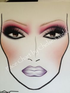 MAC Face Chart inspired by Viva Glam Nicki 2 Lipstick & Lip Glass