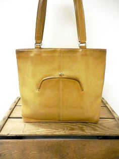 222018f36da3 Coach Vintage 1970s Early Era Kiss Lock Distressed Leather Bonnie Cashin  Tote Bag