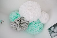 Sawyer Collection - 5 Pom poms- Craft show booth decoration/ baby shower hanging decoraiton/ nursery mobile/ party decoration on Etsy, $22.00