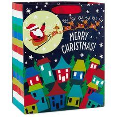 """African-American Santa and Sleigh Large Christmas Gift Bag, 13"""""""