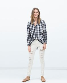 ZARA - NEW THIS WEEK - GINGHAM SHIRT WITH FRONT POCKETS