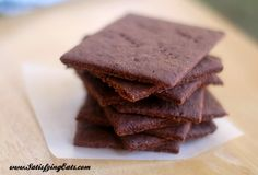 """Keto friendly, low carb, with tons of substitutions listed, Chocolate """"Graham"""" Crackers! Low Carb Sweets, Low Carb Desserts, Biscuits Graham, Low Carb Crackers, Gram Crackers, Chocolate Graham Crackers, Low Carb Chocolate, Chocolate Chocolate, Healthy Chocolate"""