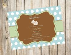 Little Lamb Baby Shower Invitation in Blue.. Twins Optional