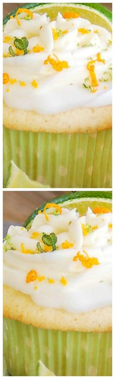 Boozy Margarita Cupcakes ~ They are loaded with lime and tequila, the moist and…
