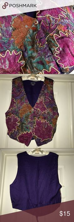 💥Blowout Vintage Vest Sale! Ladies MPurple/jewel Save when you buy more! See photos/listings for details or ask me! This listing for 1 vest-purple/multi.   To get the discount: Like the ones you want, bundle your likes and I'll adjust the price for you! Or make an offer on your bundle at the discount below, according to how many of these lovely vintage vests/bolero you'd like! They won't last long at these prices! Have fun! (Not your style? They make great costumes too!)  1= $15 2= $26 3…