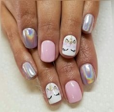 Nails Ohne Titel What Causes Hair Loss? Hair loss is a common problem faced by many people all aroun Shellac Nails, My Nails, Acrylic Nails, Nail Polish, Unicorn Nails Designs, Unicorn Nail Art, Nails For Kids, Girls Nails, Kids Manicure