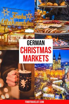 Take a trip to Germany to experience Christmas Markets. Nothing will get you into the holiday spirit like a German Christmas Market. From the moment you arrive the smells will have you wondering what to taste first. Each market is different and offers unique food, drink and local hand-made gift products. Bundle up, grab a cup of hot mulled-wine and enjoy all the Christmas Markets in Germany.  #ChristmasMarkets #Germany