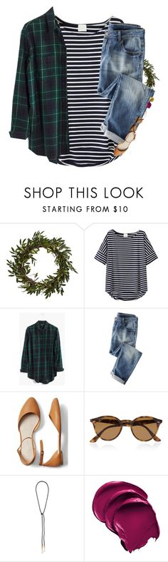 """Idk what to get my bf for Christmas!"" by mac-moses ❤ liked on Polyvore featuring Madewell, Wrap, Gap, Ray-Ban, Lizzie Fortunato and Pat McGrath"