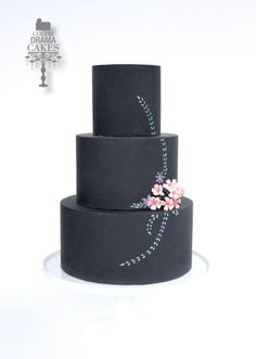 Chalk board cake with hand painted flowers, leaves with sugar flower - Cake by Color Drama Cakes