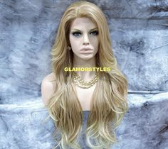"""34"""" Long Wavy Layered Blonde Mix Full Lace Front Wig Heat Ok Hair Piece #27/613  